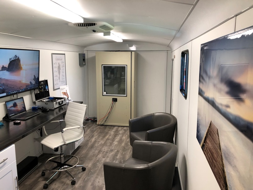 hearing assessment booth inside mobile clinic